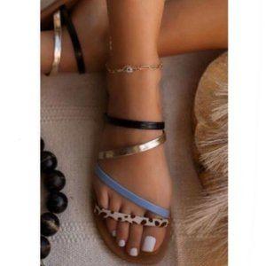 Slide Sandals in Black, Blue & Cow Print